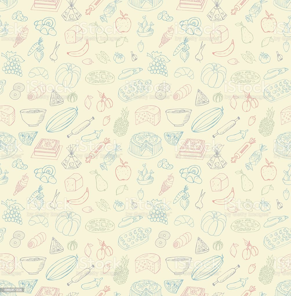 Seamless Food Doodles vector art illustration
