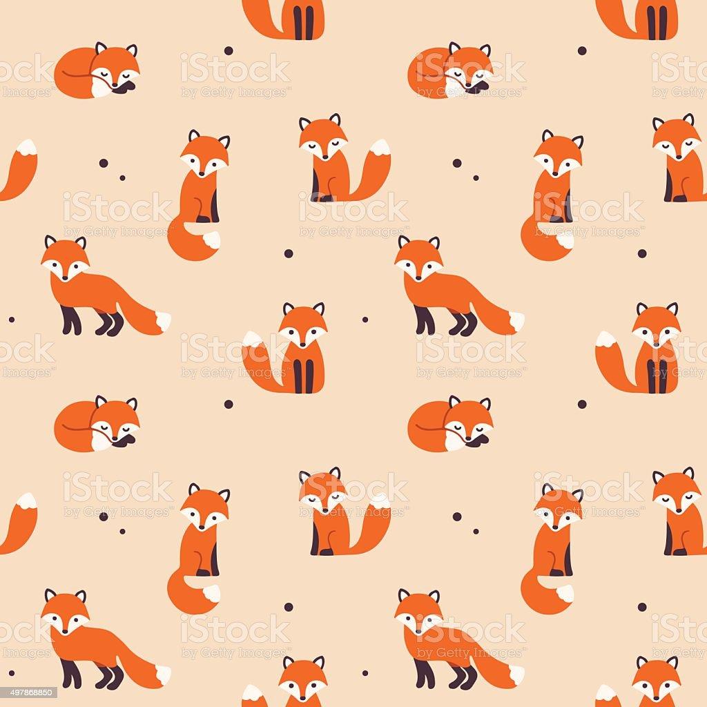 seamless fox pattern vector art illustration