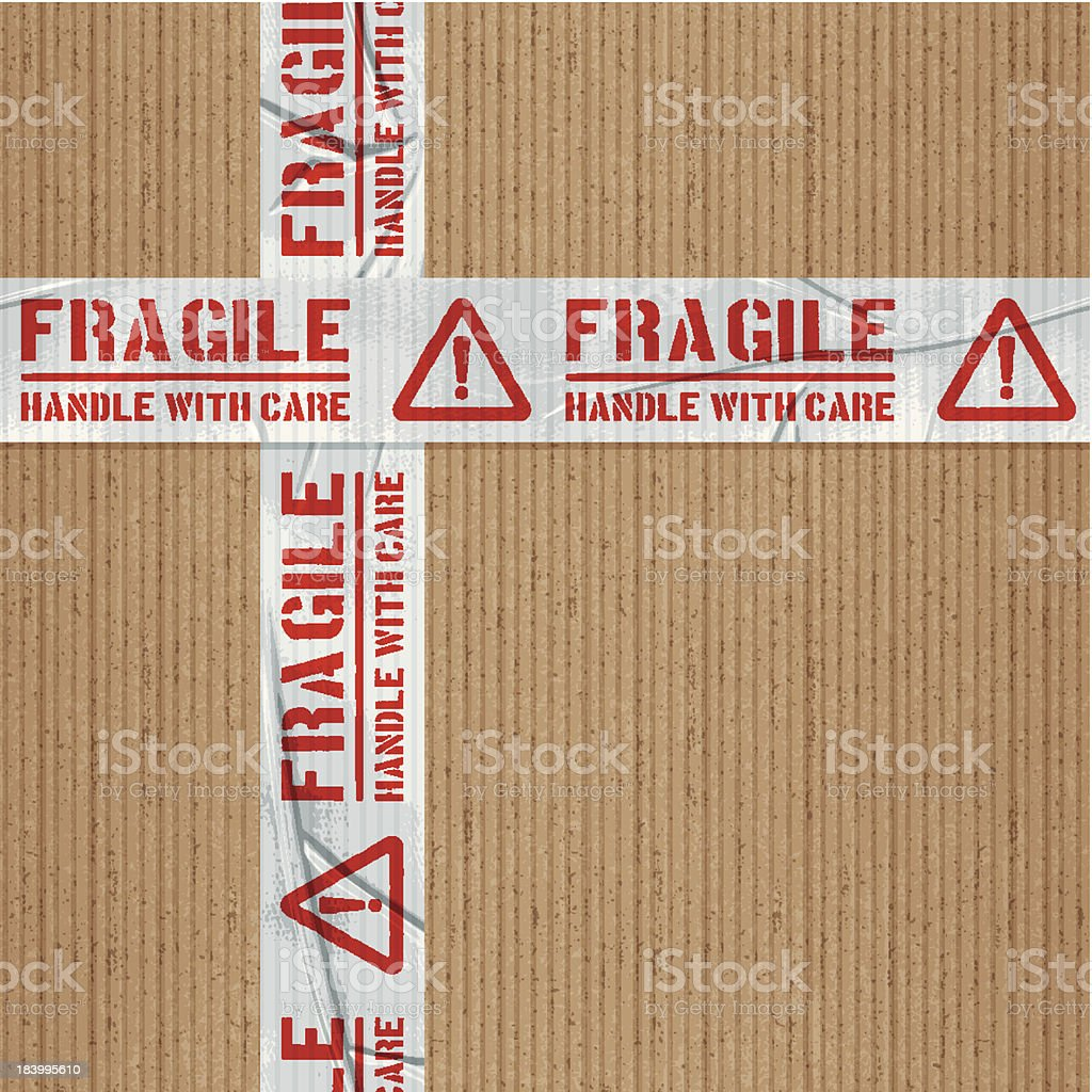 seamless fragile handle with care adhesive tape with cardboard vector art illustration
