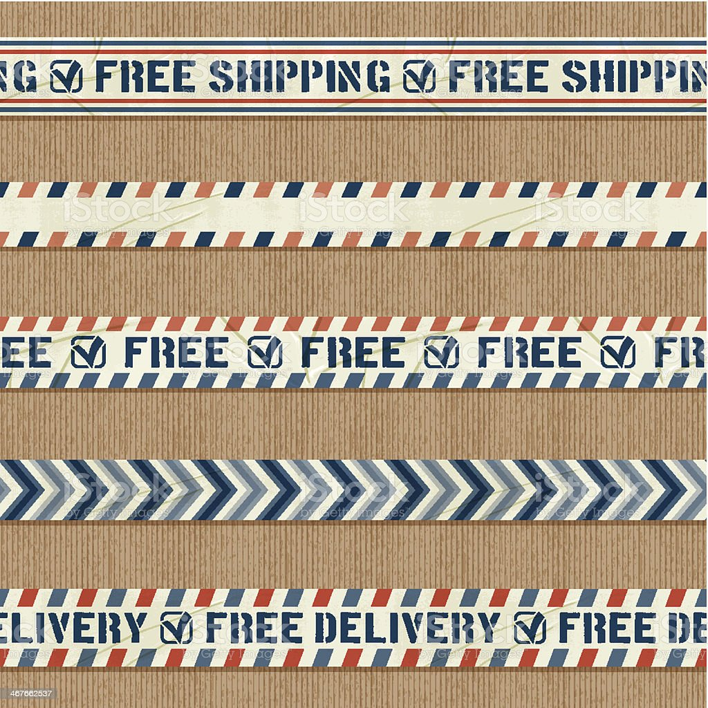 seamless free shipping banners vector art illustration
