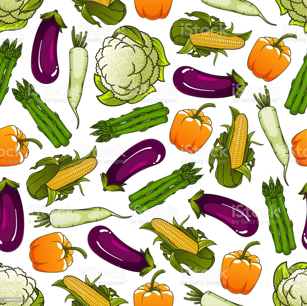 Seamless fresh farm vegetables pattern vector art illustration