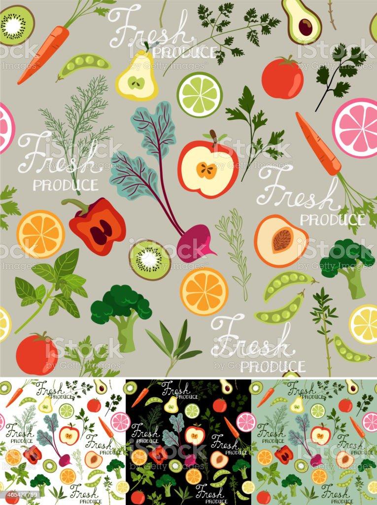 Seamless Fresh Produce Background vector art illustration