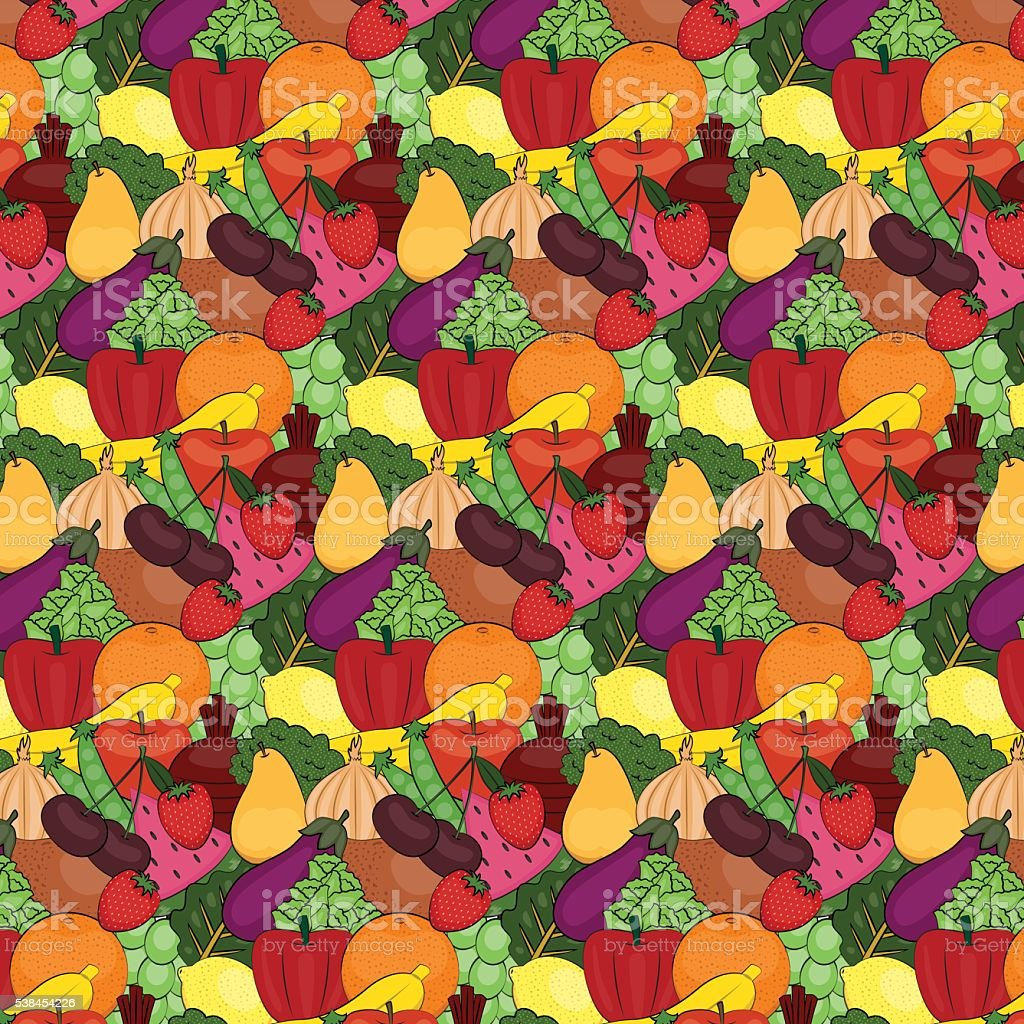 Seamless Fruit and Vegetable Vector Pattern vector art illustration