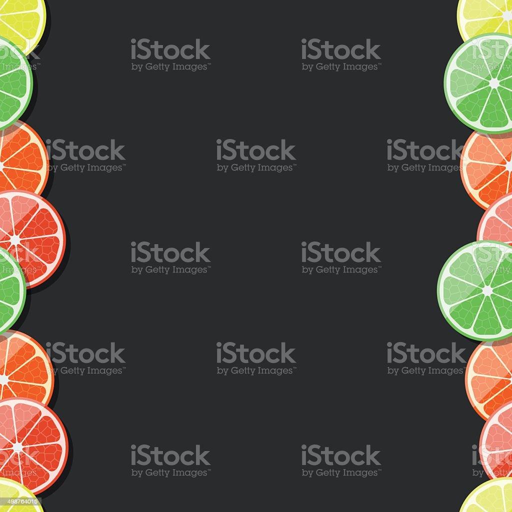 Seamless fruit frame. Citrus, lemon, lime, orange, tangerine. Vector illustration. royalty-free stock vector art