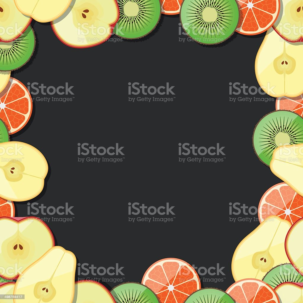 Seamless fruit frame. Lemon, orange, peach, apricot, pear, avocado, apple. royalty-free stock vector art