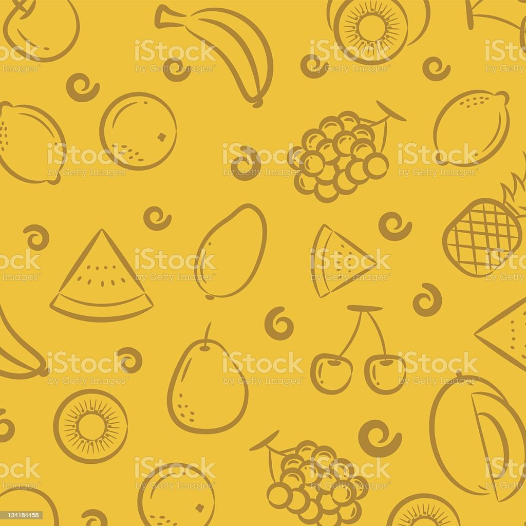 Seamless fruit pattern in yellow stock photo