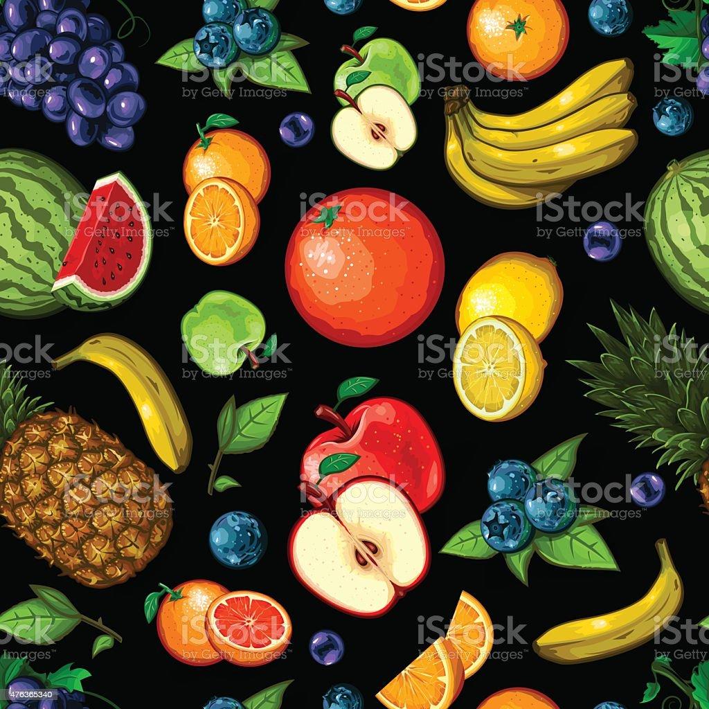 Seamless Fruit Pattern vector art illustration