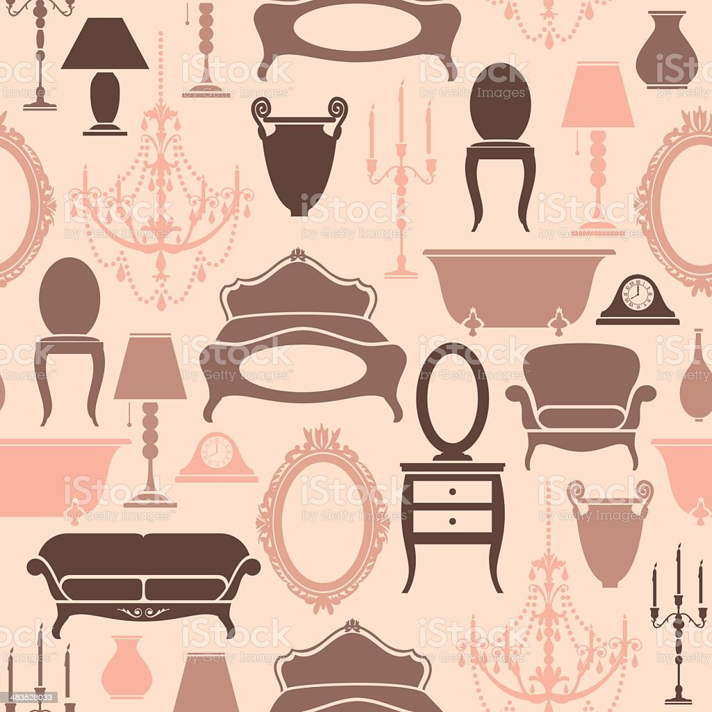 Seamless Furniture Pattern royalty-free stock vector art