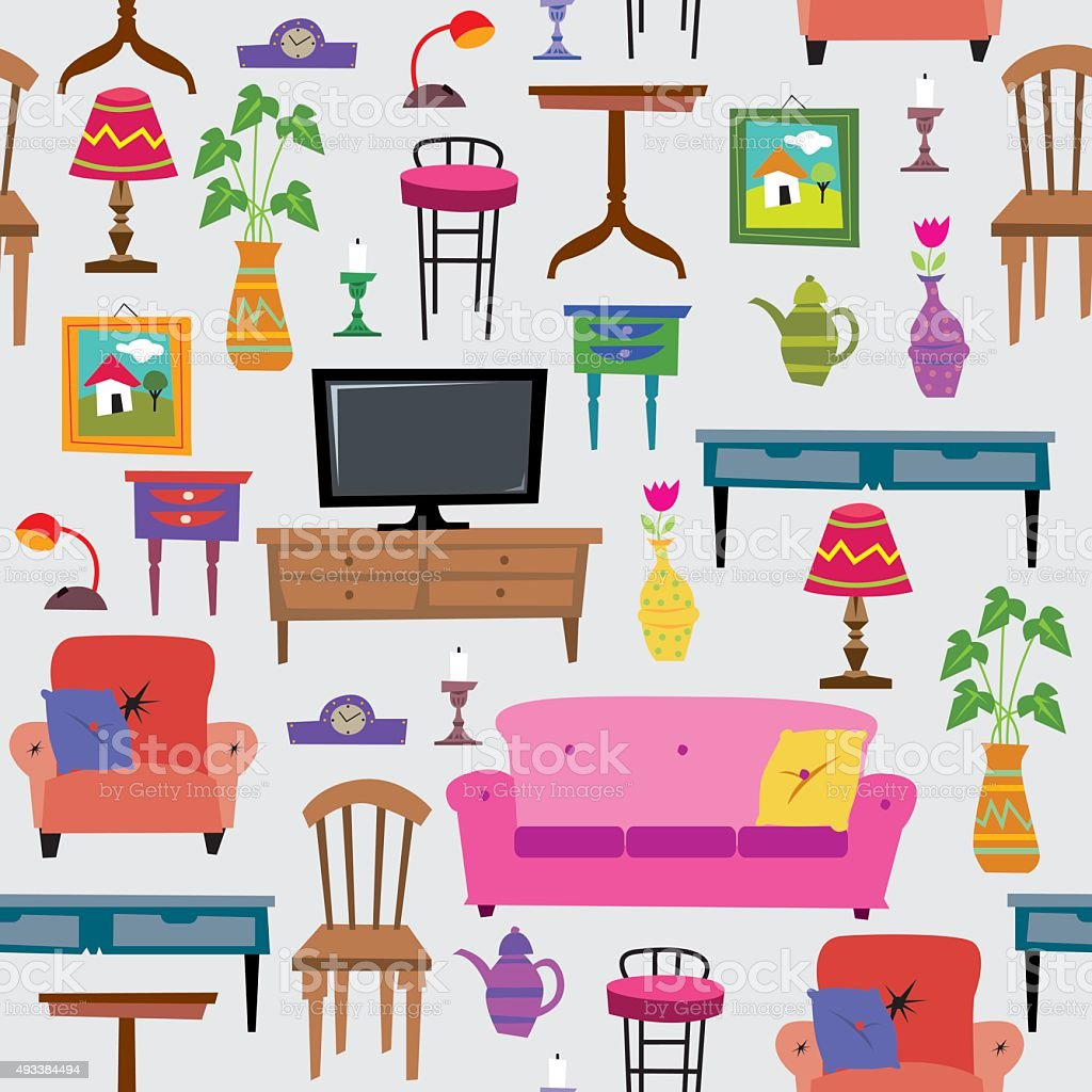Seamless Furniture Set vector art illustration