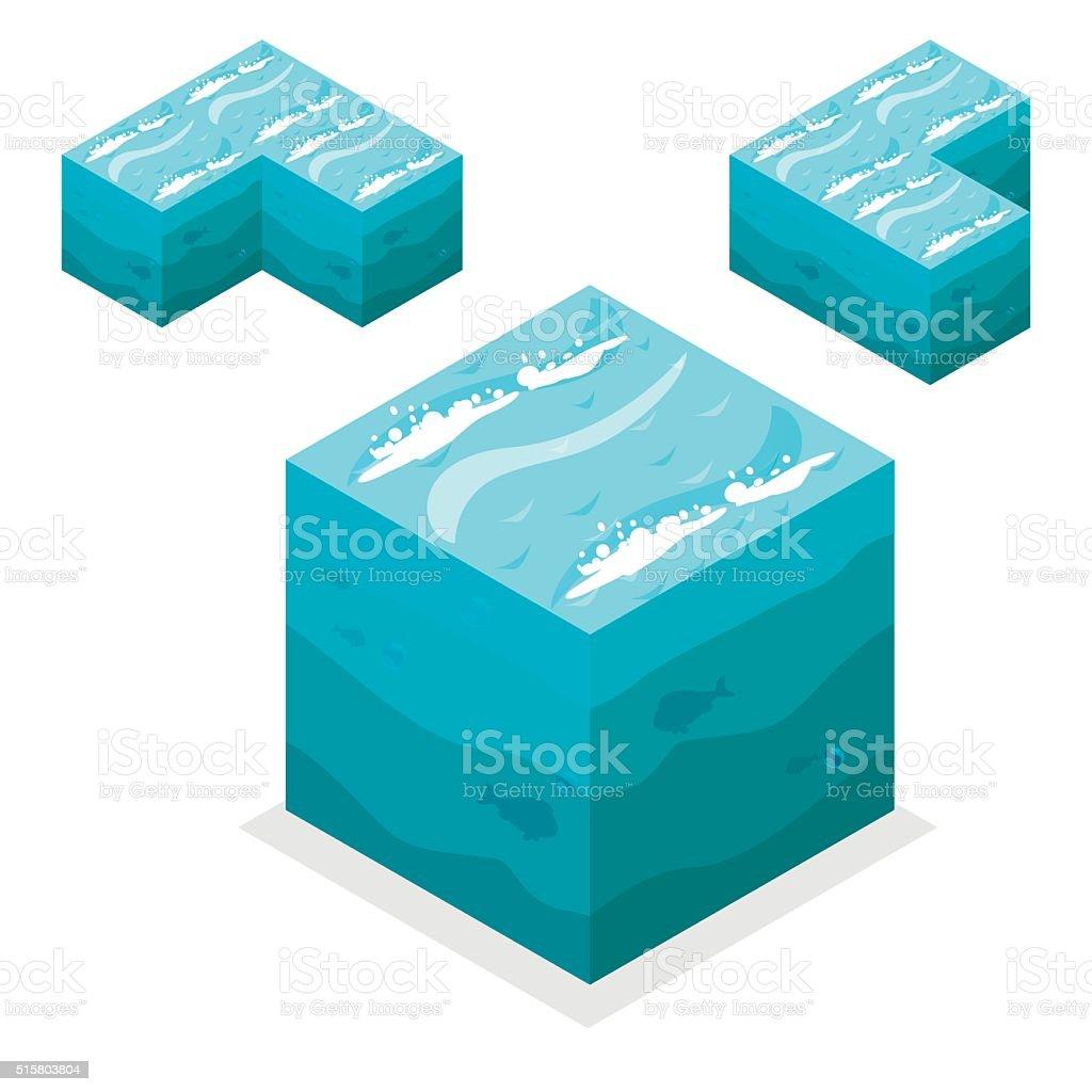 Seamless Game block Isometric Cubes, nature unending water, sea vector art illustration