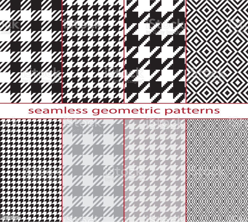 Seamless geometric black and white patterns, houndstooth, diamond, checkerboard. vector art illustration