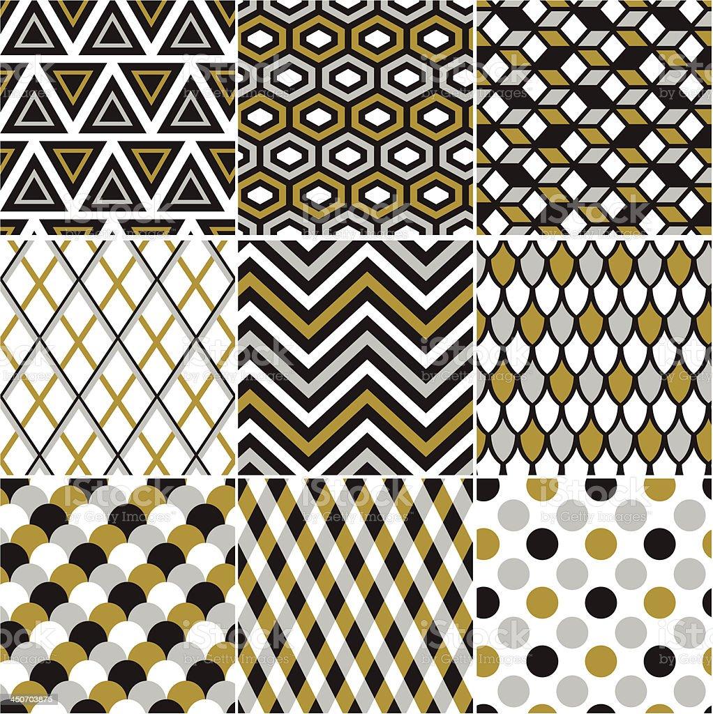 seamless geometric gold pattern vector art illustration