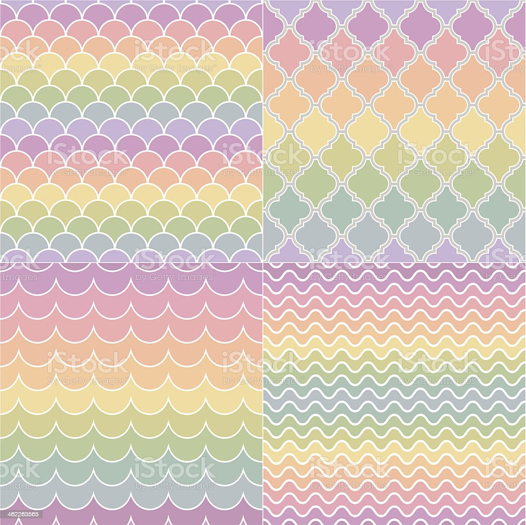 seamless geometric pastel colors pattern vector art illustration