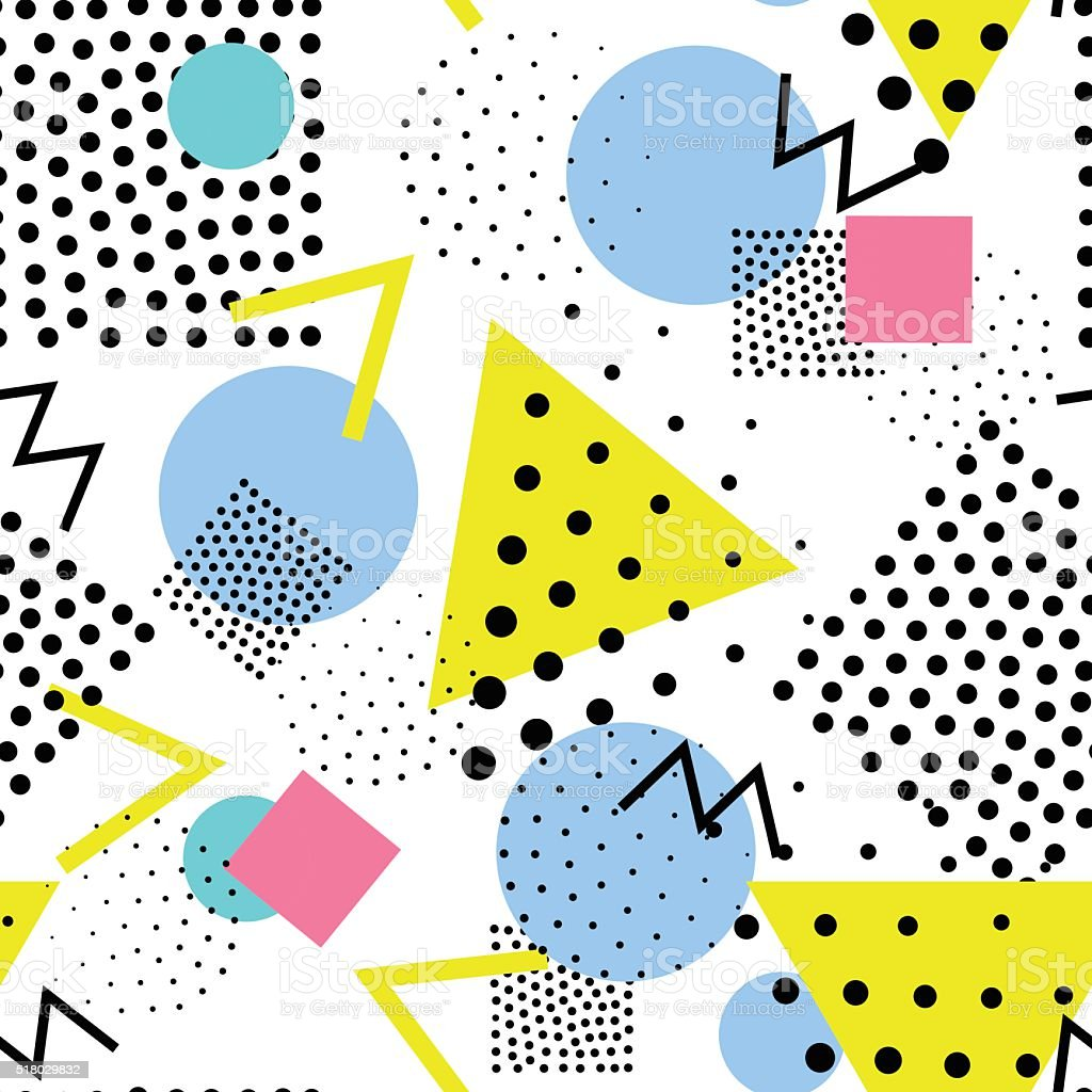 Seamless geometric pattern in retro, memphis 80s style vector art illustration