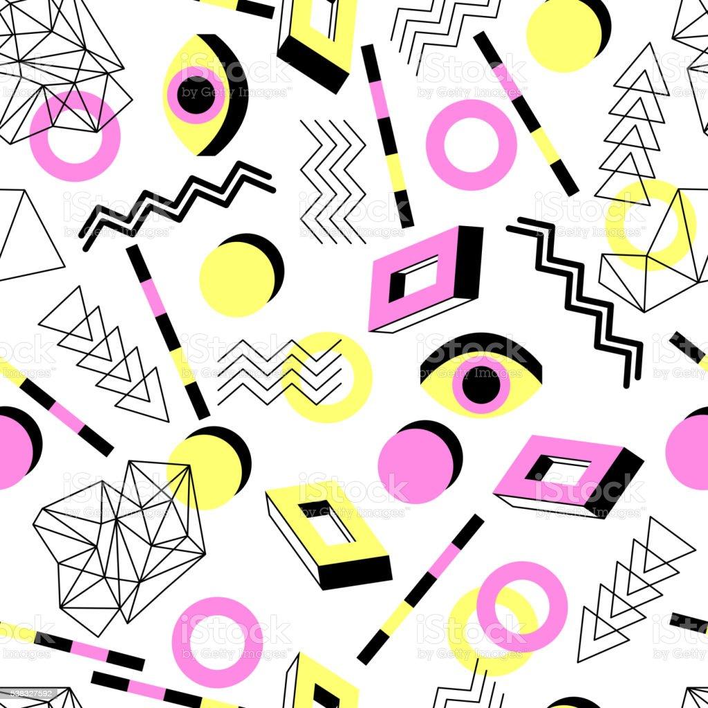 Seamless geometric pattern in retro 80s style vector art illustration