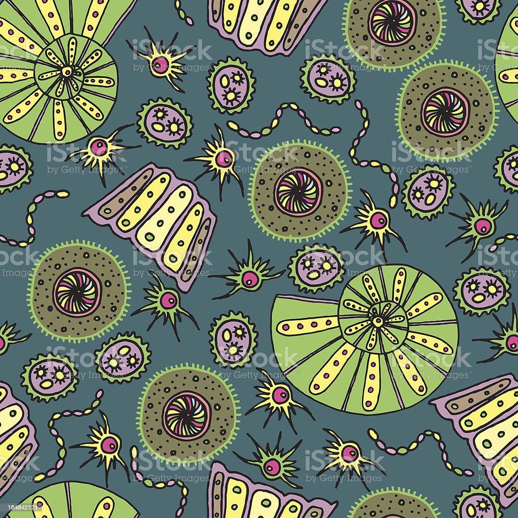 Seamless geometric pattern / Sea shells and animals royalty-free stock vector art