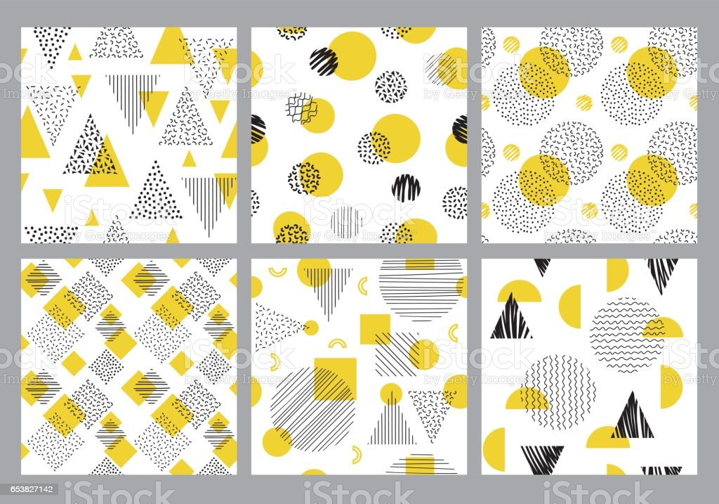 Seamless geometric pattern set vector art illustration