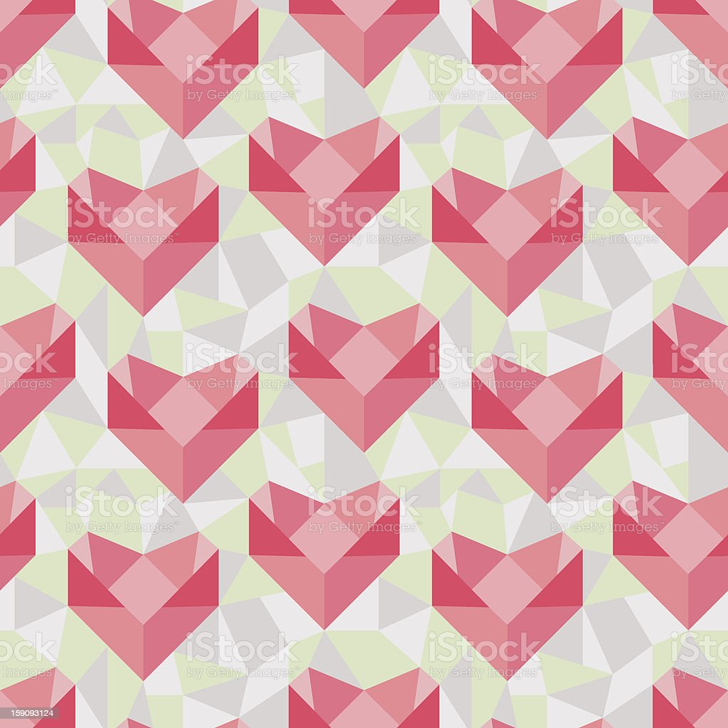 Seamless geometric pattern with origami hearts. royalty-free stock vector art