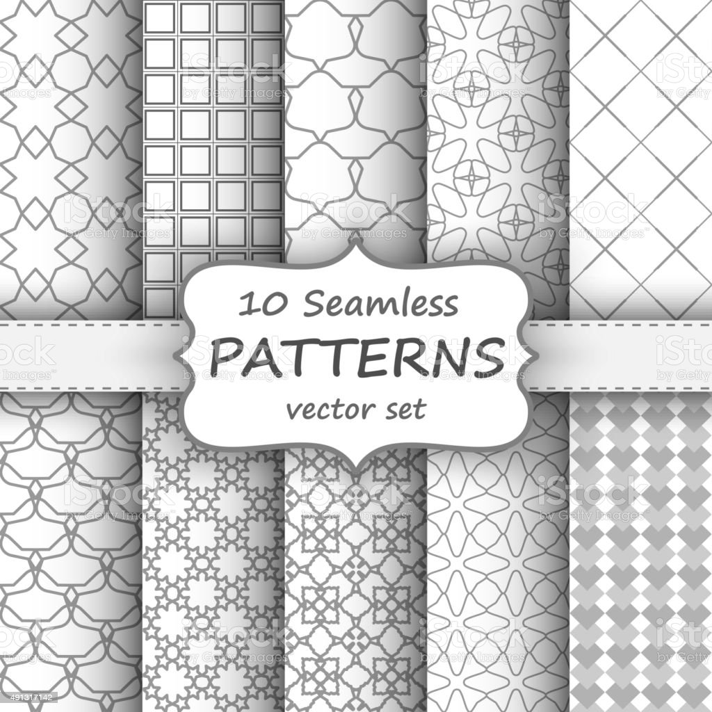 Seamless geometric patterns set. Grey and white texture for your vector art illustration