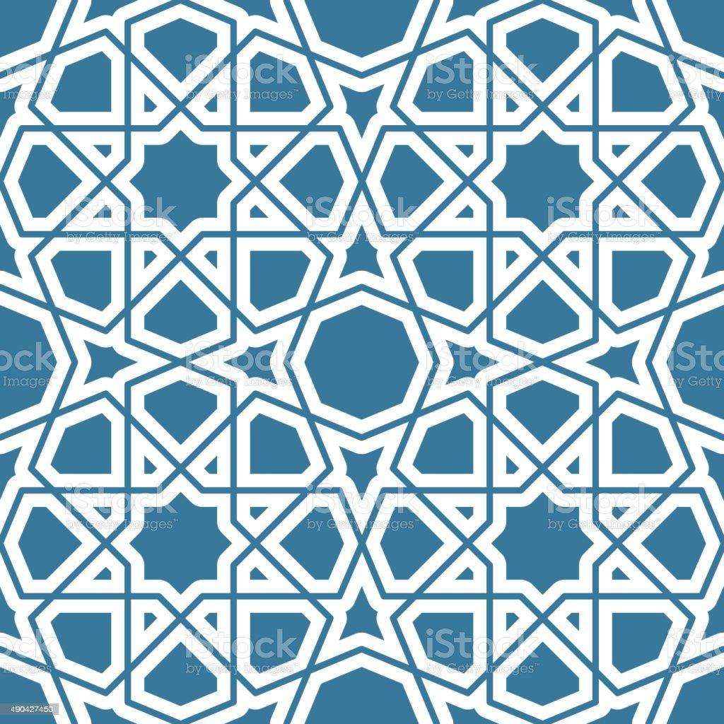 Seamless geometric tiling pattern vector art illustration