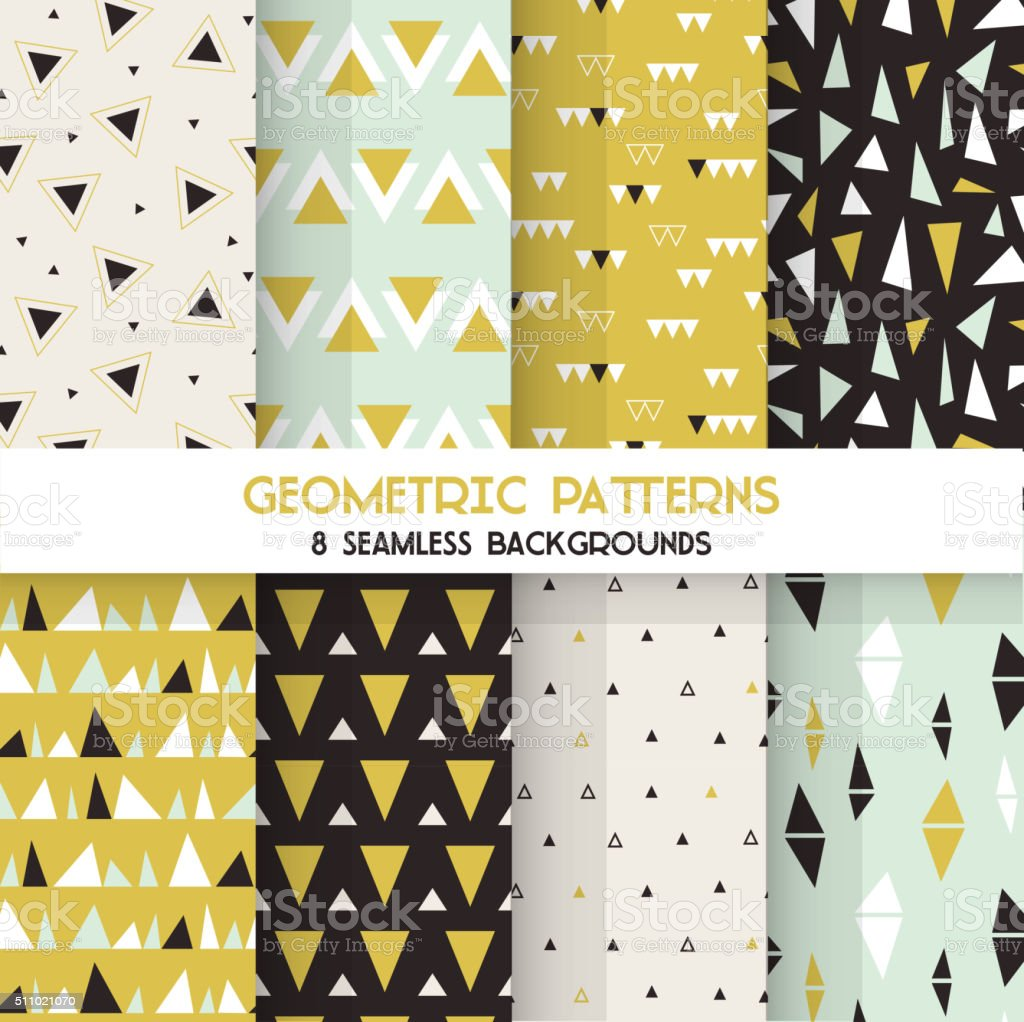 8 Seamless Geometric Triangles Patterns - Texture for wallpaper, textile vector art illustration