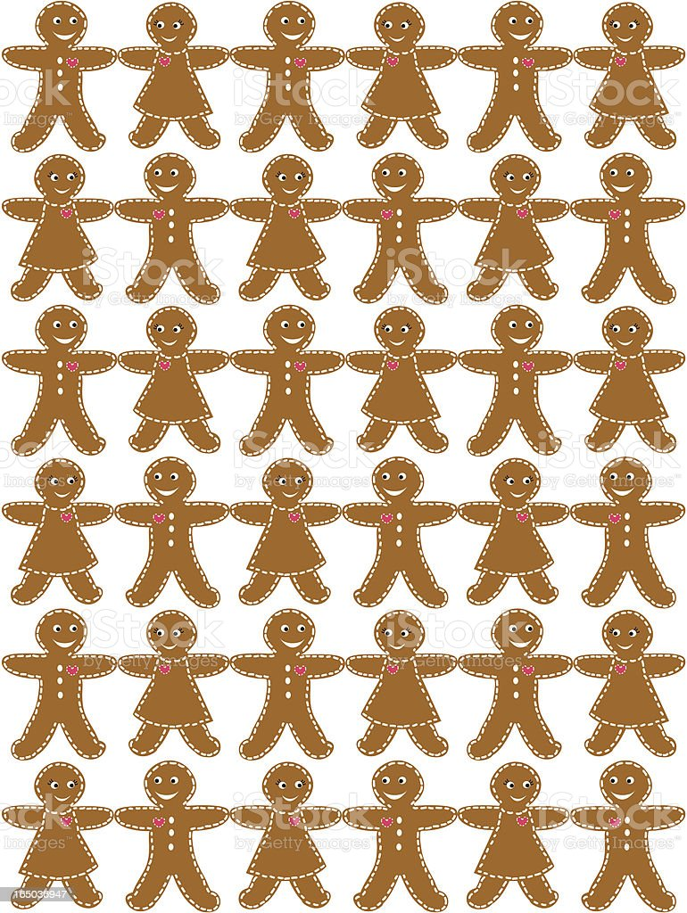 Seamless Gingerbread Cookie Background ( Vector ) royalty-free stock vector art