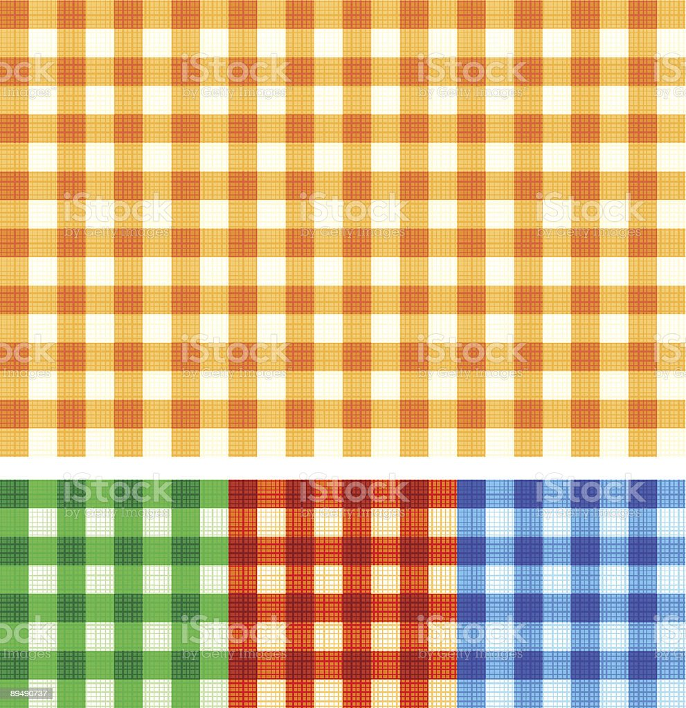Seamless gingham checked patterns of autumn colors with fabric texture royalty-free stock vector art