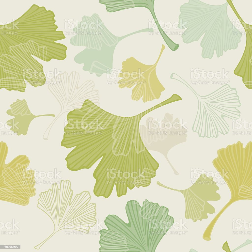 Seamless Ginkgo Leaves Background vector art illustration