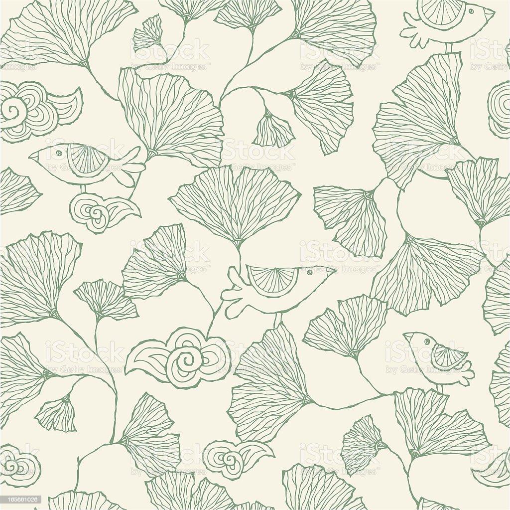Seamless Ginko Leaf pattern vector art illustration