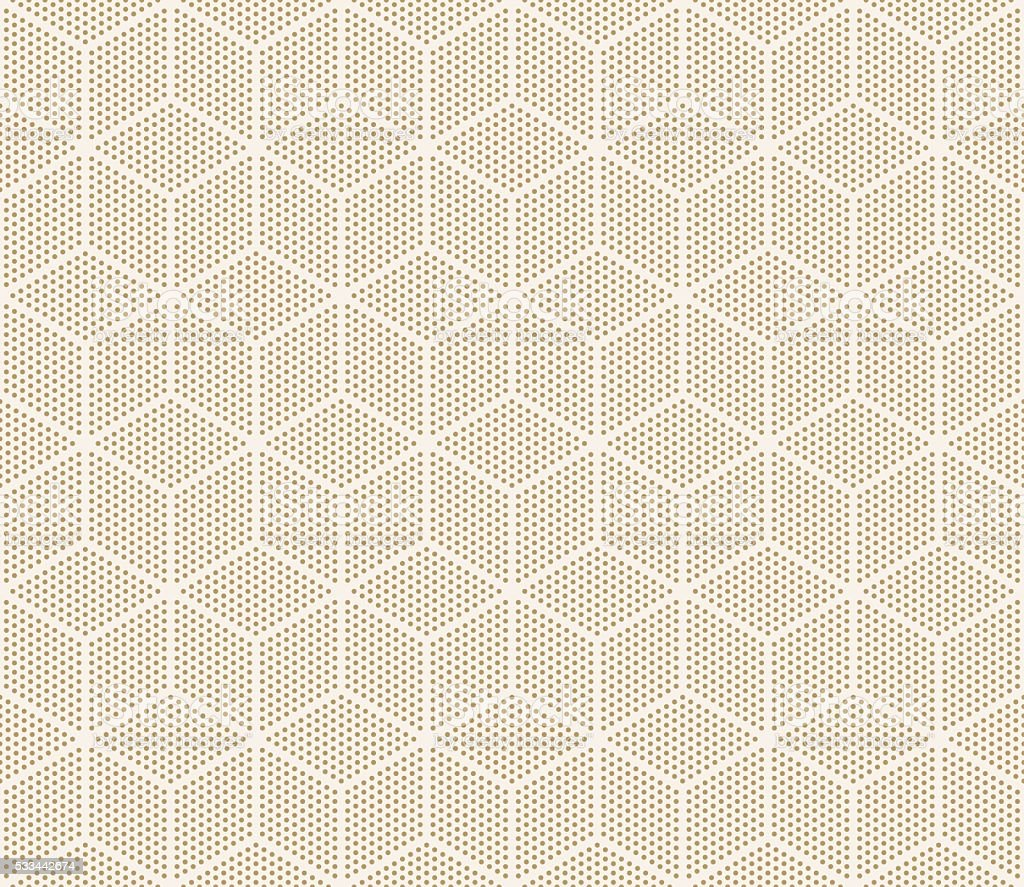 seamless gold colored cube pattern of dots. vector art illustration