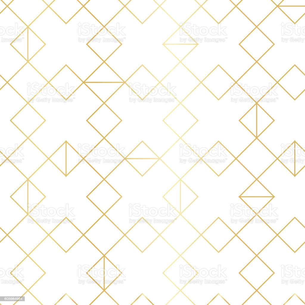 Seamless gold geometric pattern with line rhombus vector art illustration