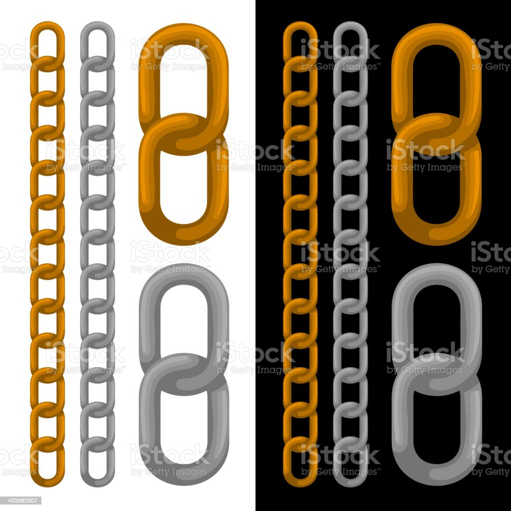 Seamless golden and silver chain. Vector. royalty-free stock vector art