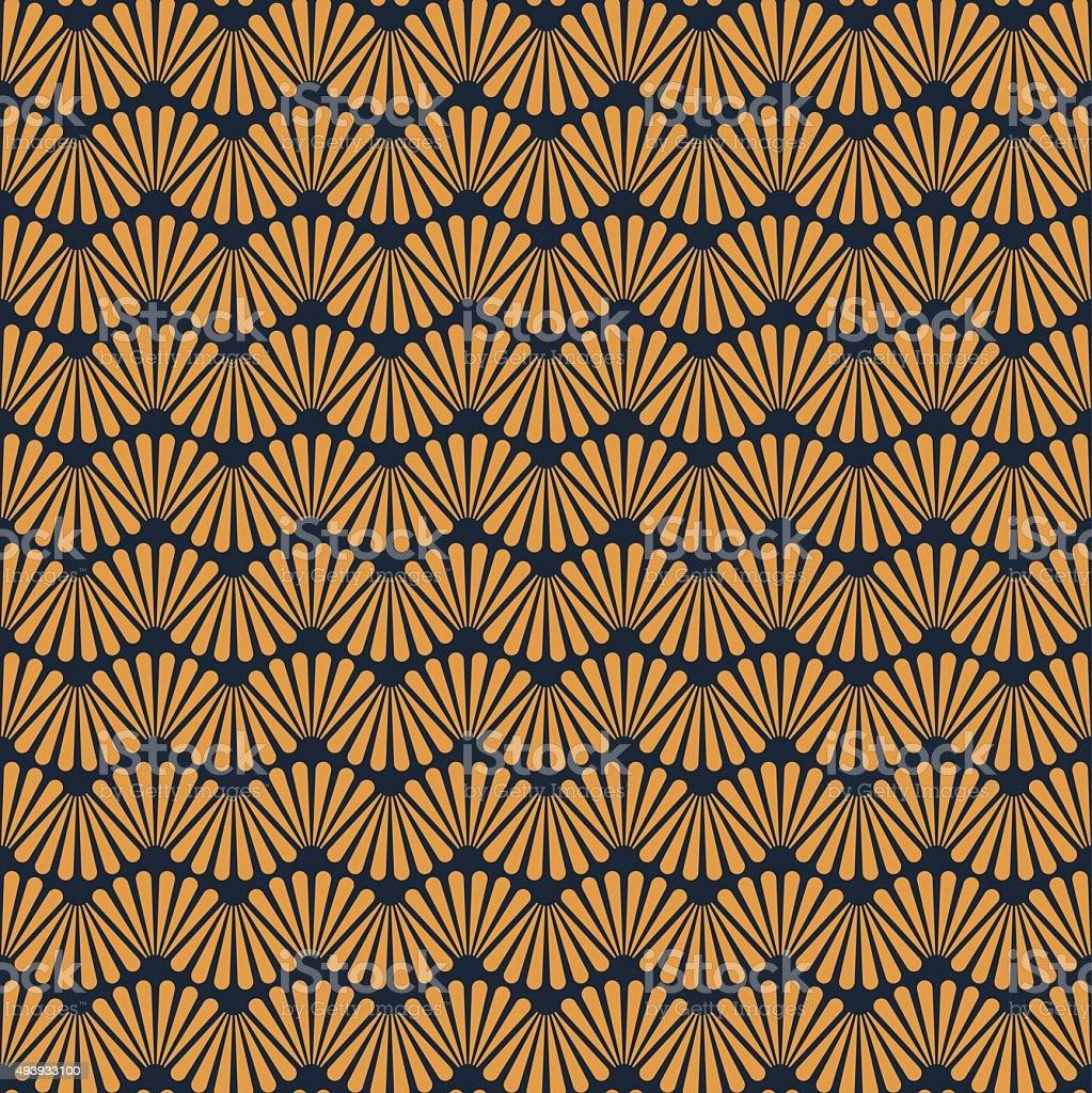 Seamless Golden Art Deco Pattern Texture Wallpaper Background vector art illustration