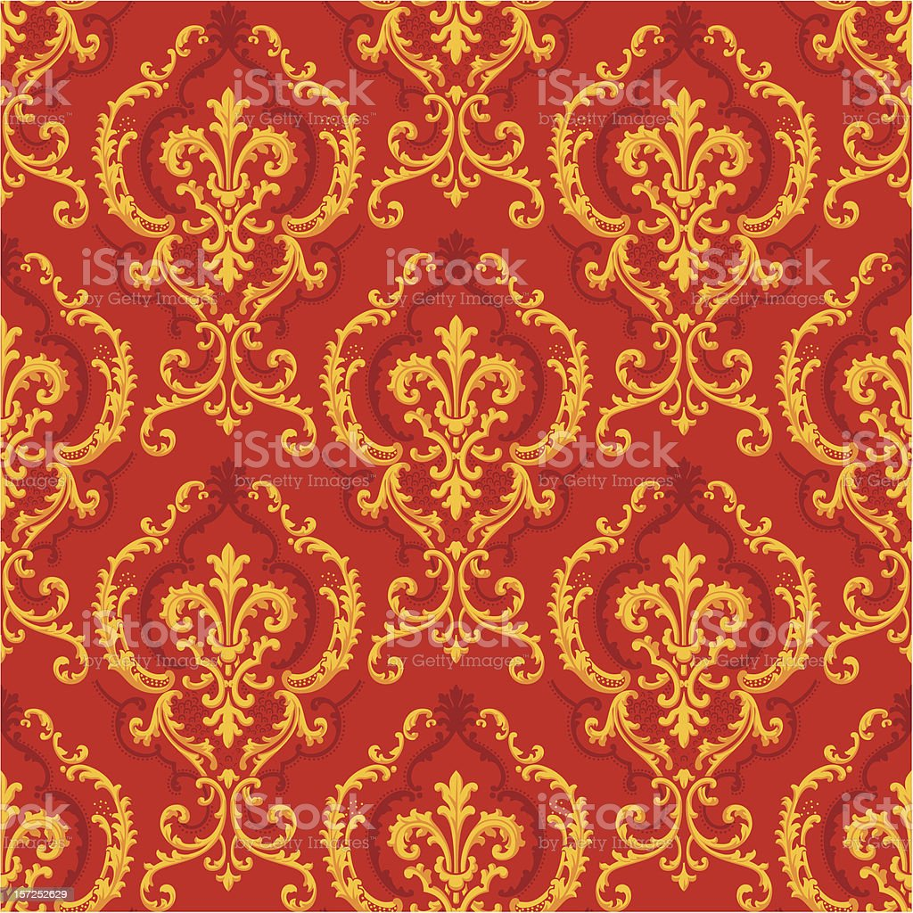 Seamless golden floral Baroque Pattern royalty-free stock vector art