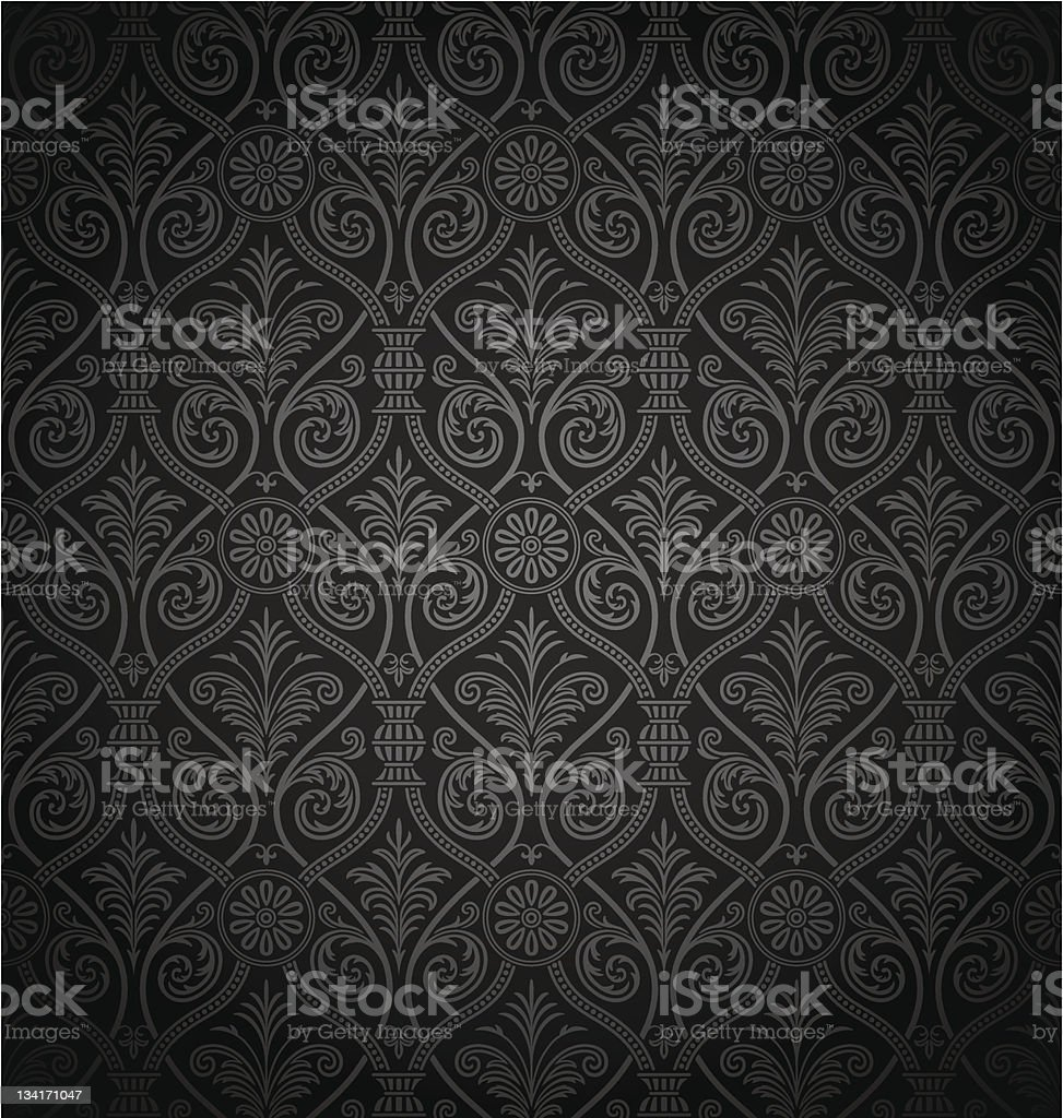Seamless gothic damask pattern vector art illustration