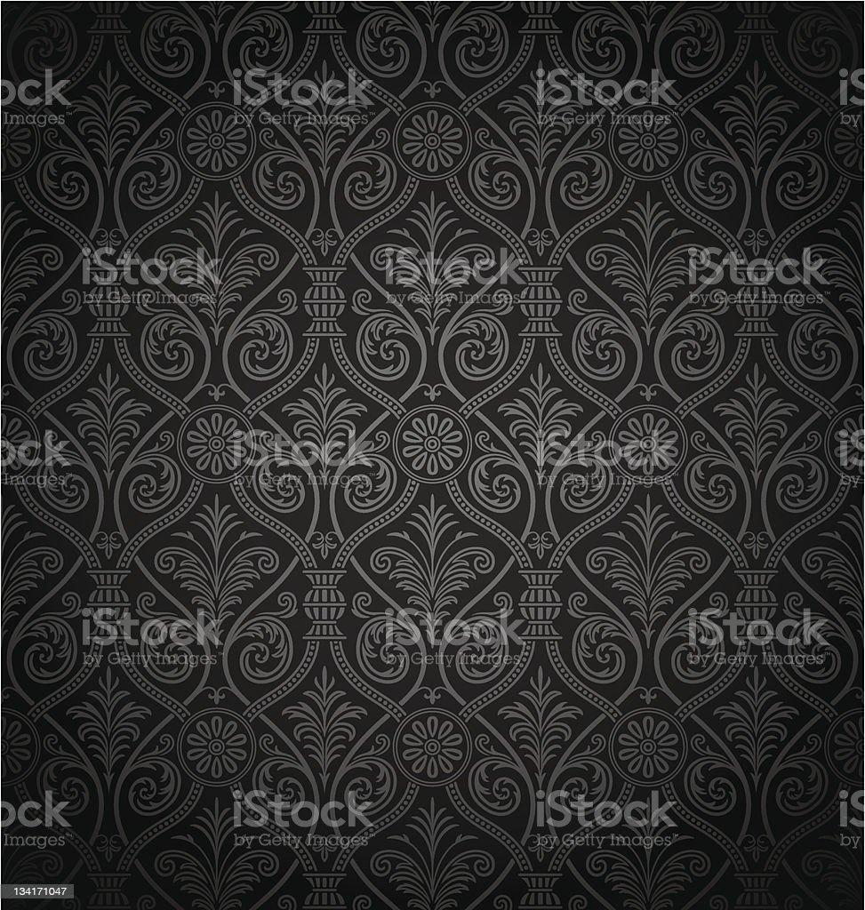 Seamless gothic damask pattern vector art illustration