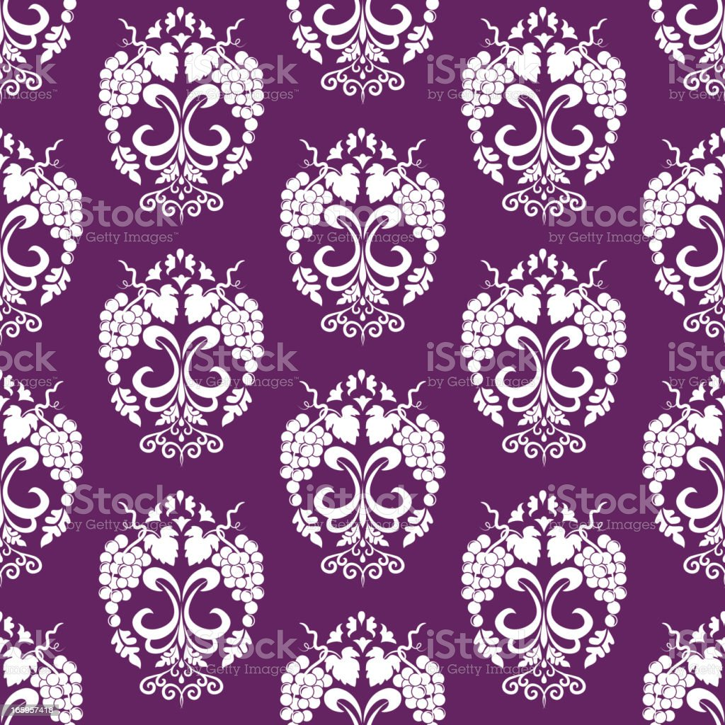 Seamless Grapes Damask Background royalty-free stock vector art