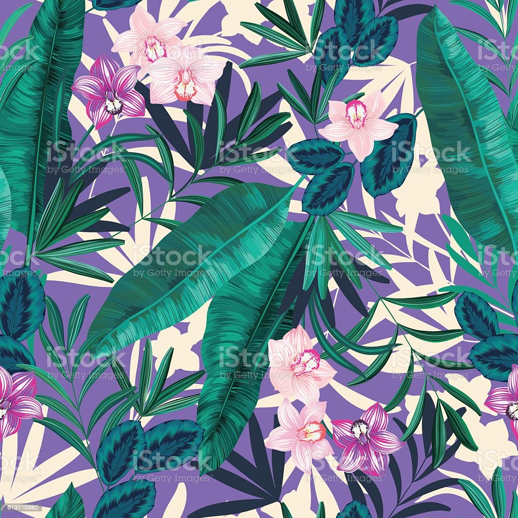 seamless graphical realistic tropical nature with flowers pattern vector art illustration