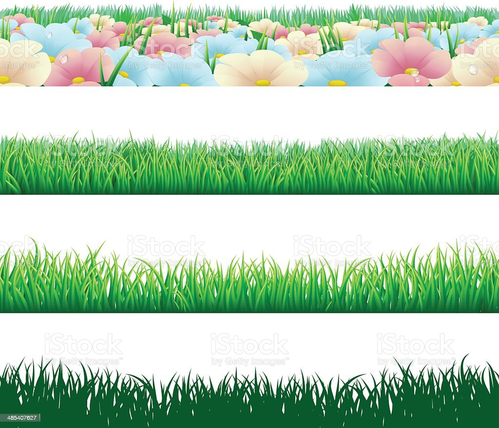 Seamless grass elements vector art illustration