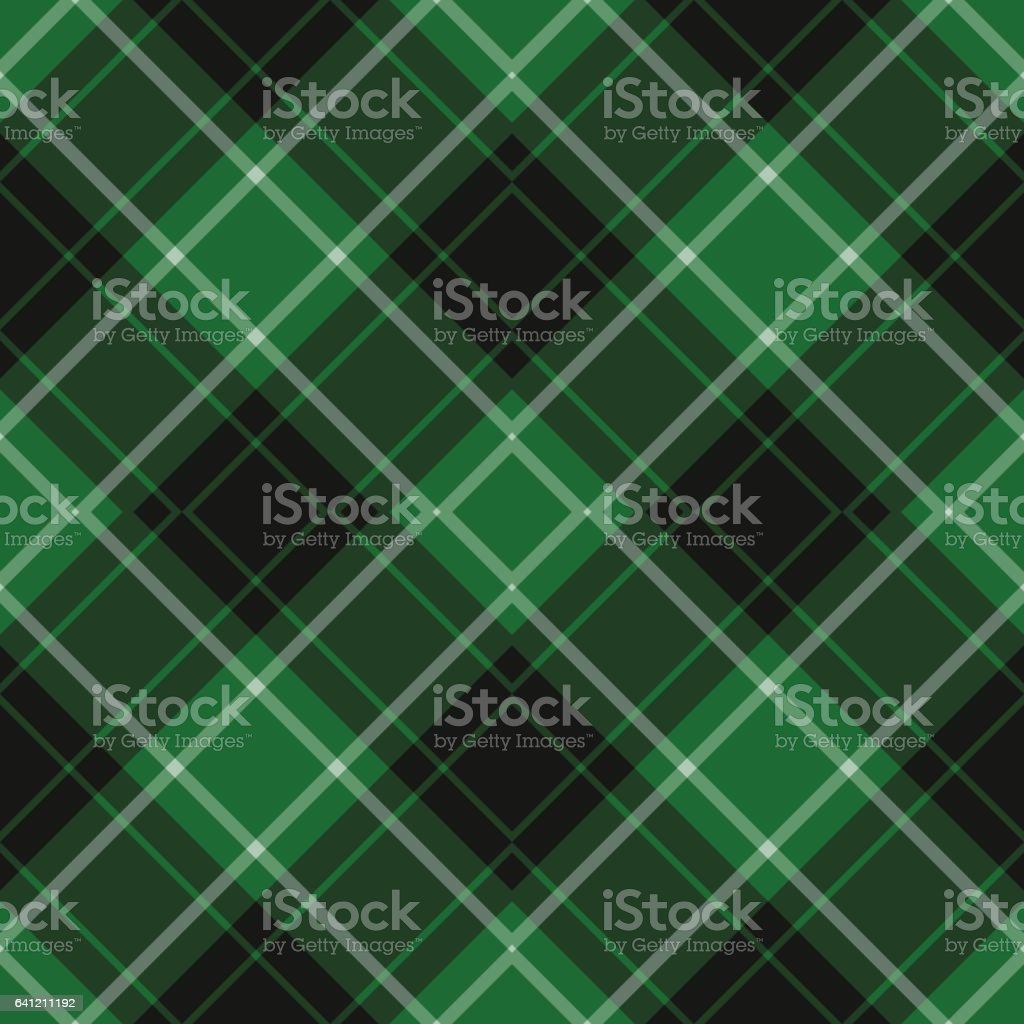 seamless green, black, white diagonal tartan vector art illustration