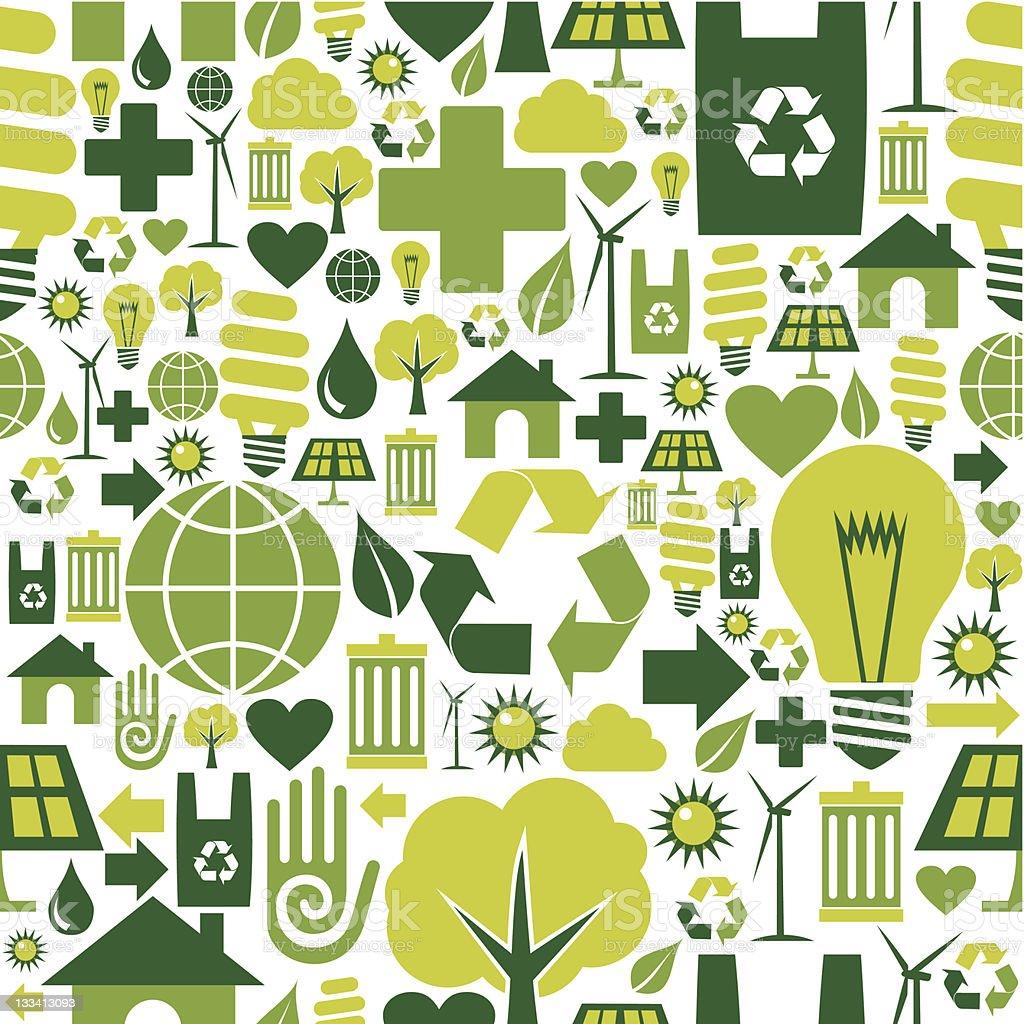 Seamless green environment icons pattern vector art illustration