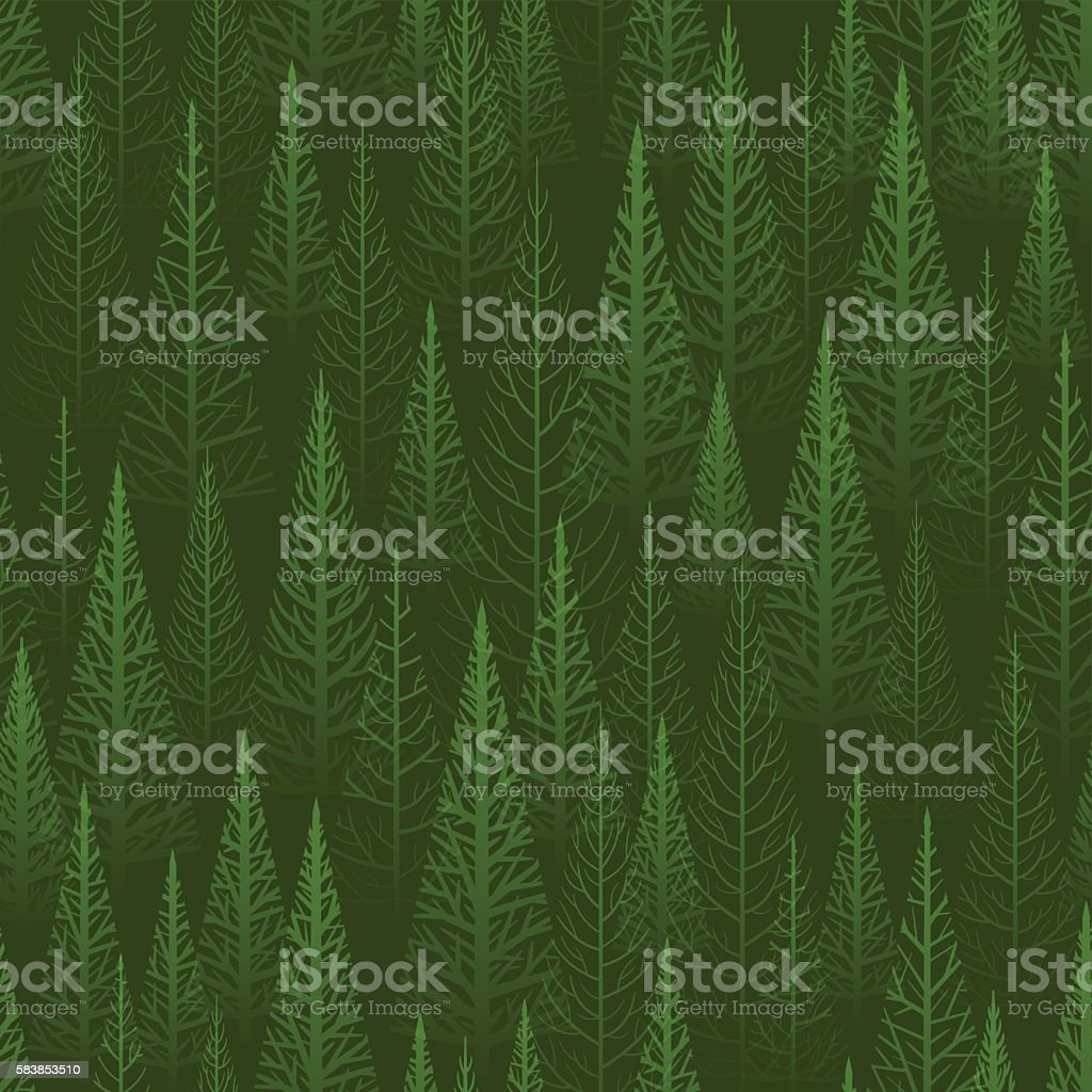 Seamless green forest vector art illustration