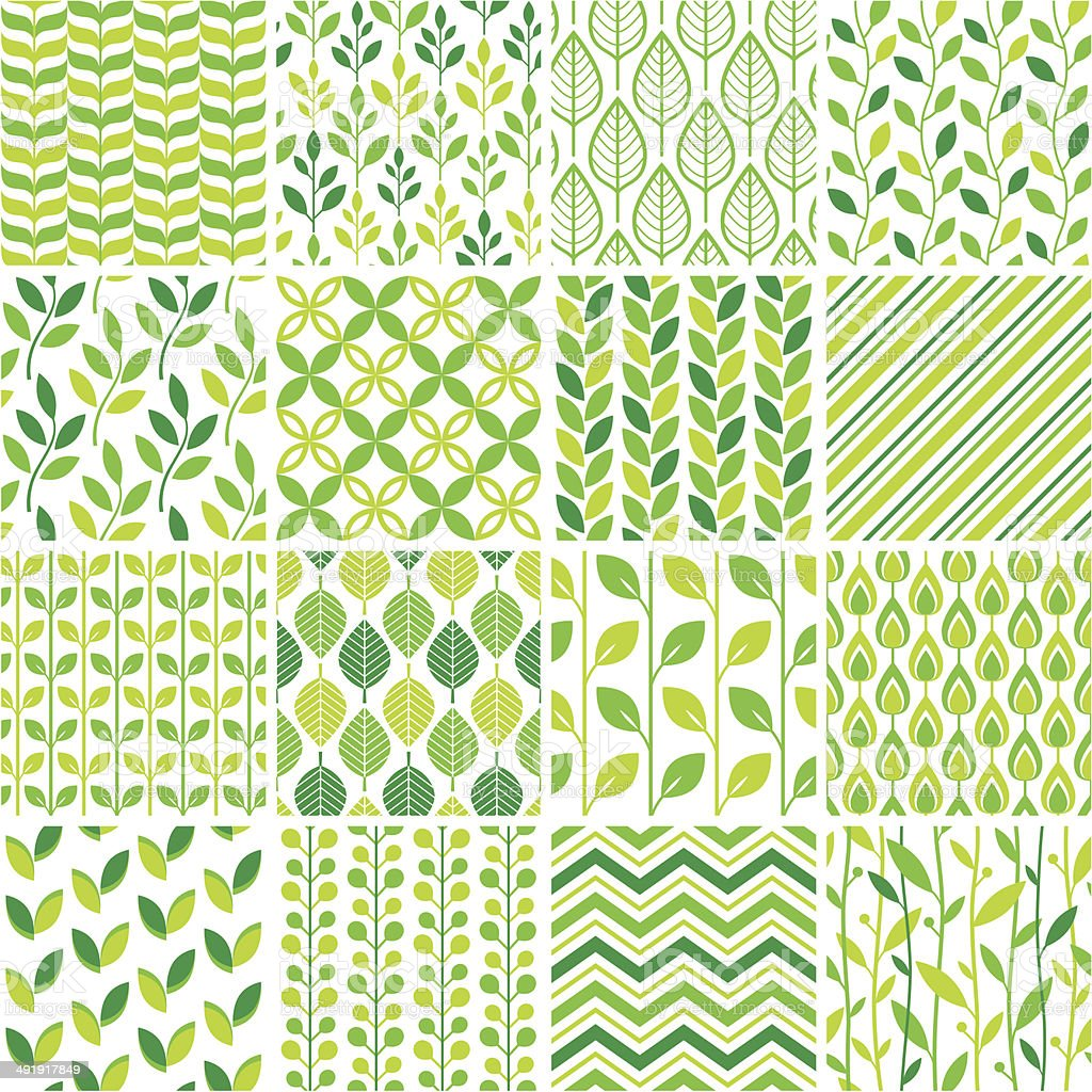 Seamless green graphic pattern set vector art illustration