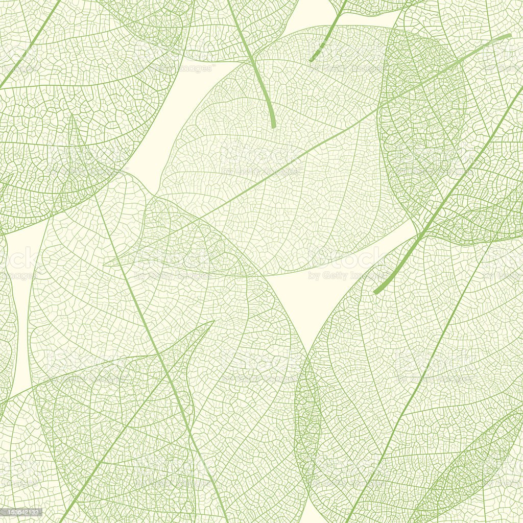 Seamless green leaves pattern vector art illustration