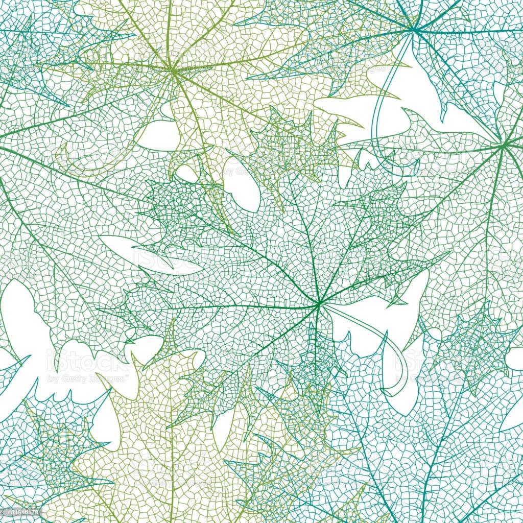 Seamless green leaves pattern vector art illustration