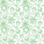 seamless green sketch chestnuts