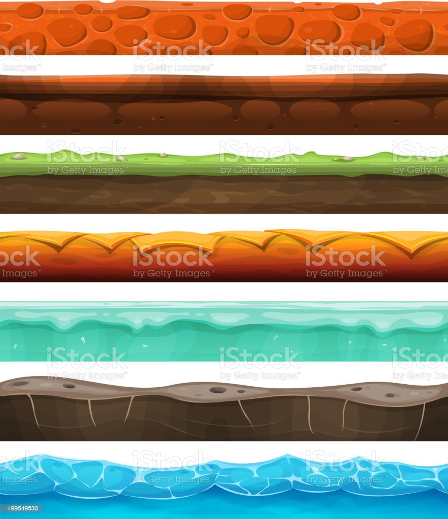 Seamless Grounds, Land And Soil For Ui Game vector art illustration