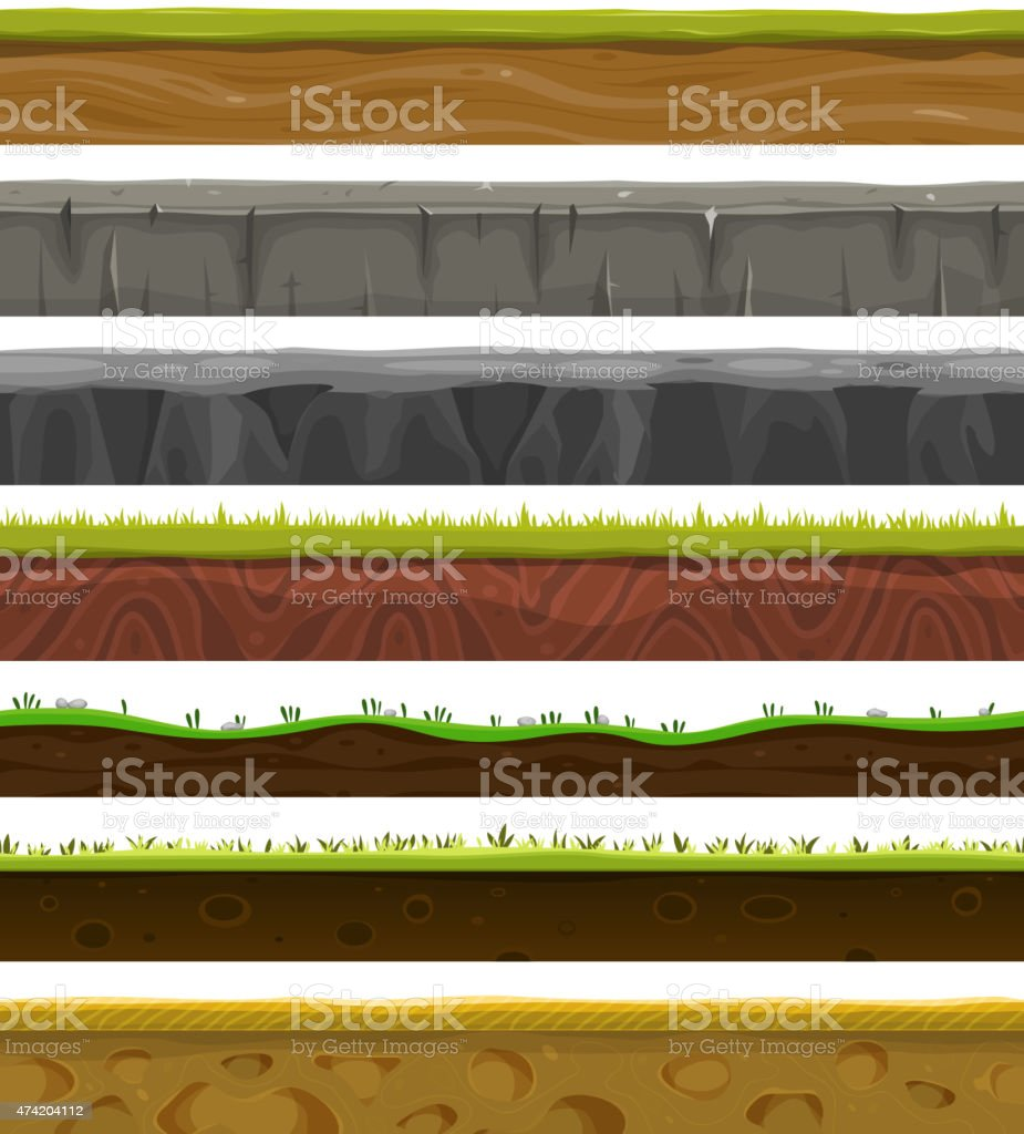 Seamless Grounds, Soil And Grass For Ui Game vector art illustration