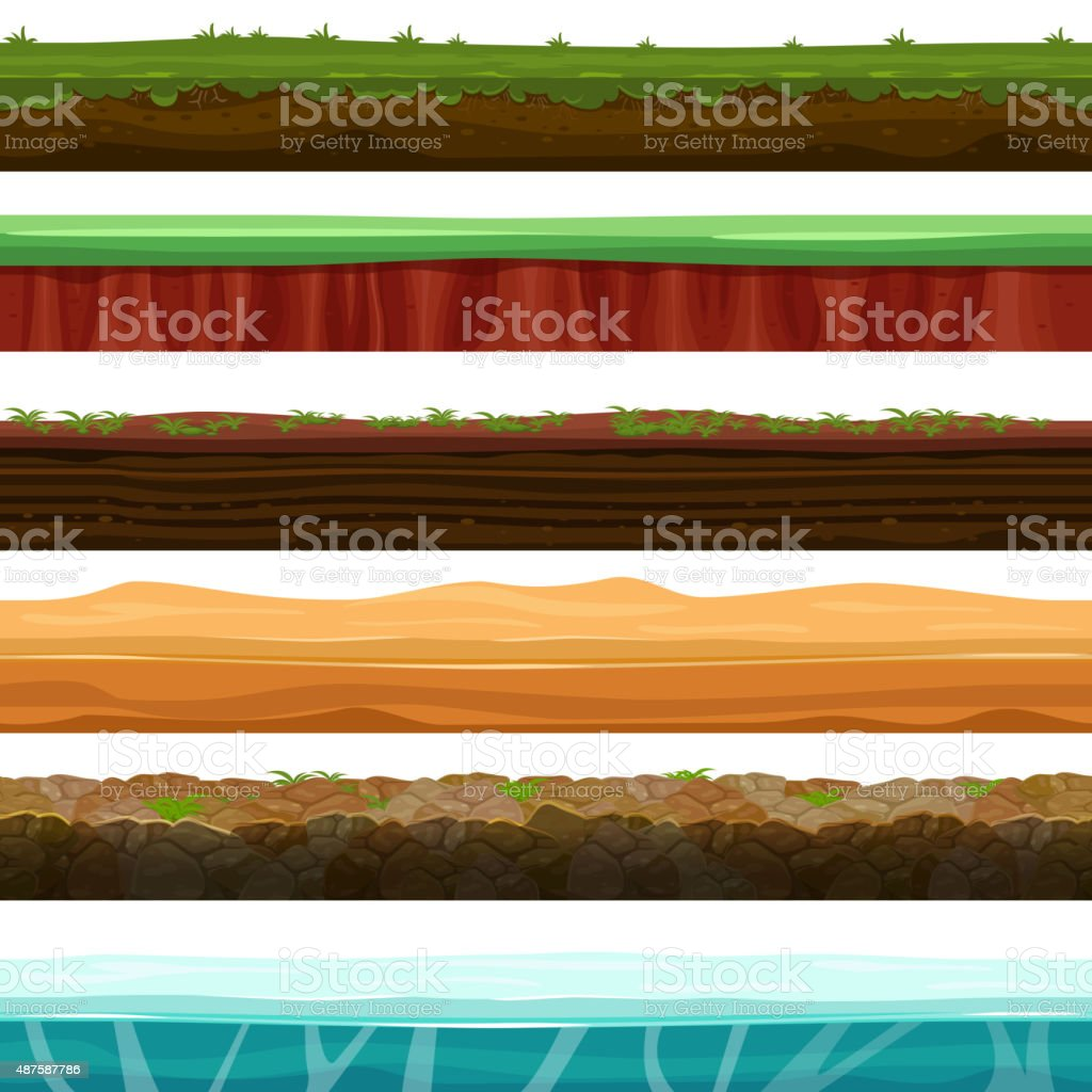 Seamless grounds, soils and land vector set for UI games vector art illustration