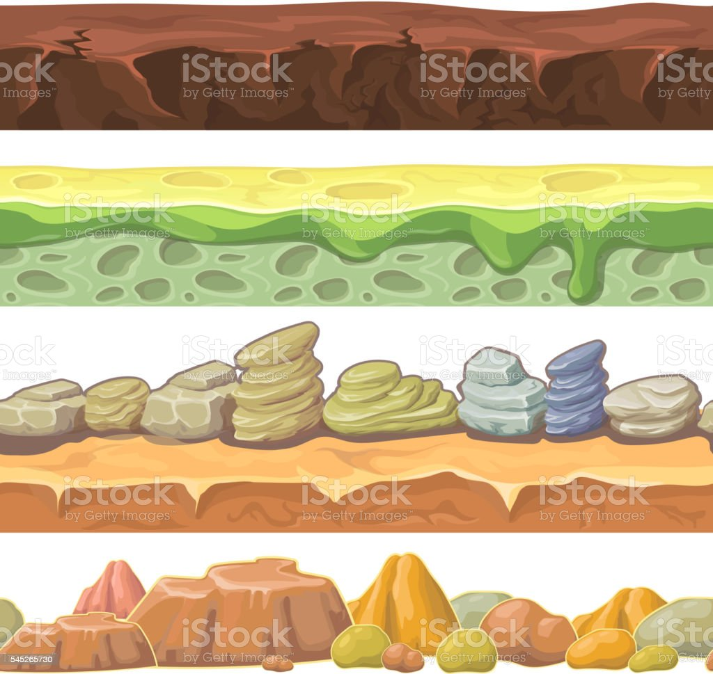 Seamless grounds, soils and land vector set for UI games. vector art illustration